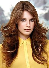 Multi-function Long Brown Female Wavy Celebrity Hairstyle 20 Inch