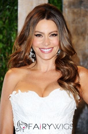 2015 Fashion Trend Long Brown Female Wavy Celebrity Hairstyle 20 Inch