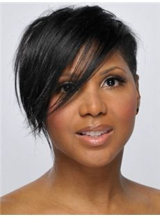 Classic Short Black Female Straight Celebrity Hairstyle 10 Inch