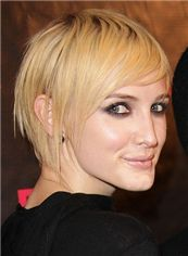 Affordable Short Blonde Female Straight Celebrity Hairstyle 8 Inch