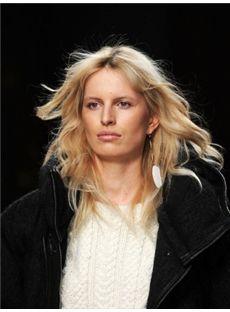 Unique Medium Blonde Female Wavy Celebrity Hairstyle 16 Inch