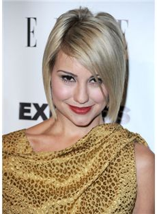 Stylish Short Blonde Female Straight Celebrity Hairstyle 12 Inch