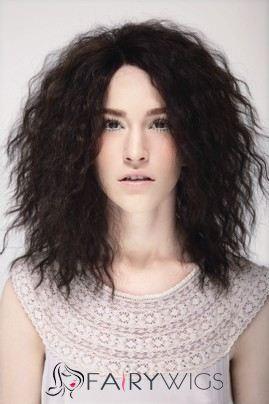 Cheap Medium Sepia Female Wavy Vogue Wigs 16 Inch