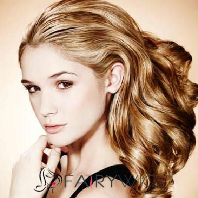 Shinning Medium Blonde Female Wavy Vogue Wigs 16 Inch