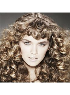 Ingenious Medium Brown Female Wavy Vogue Wigs 18 Inch