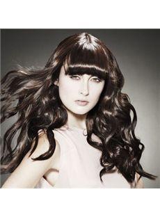 Unique Long Sepia Female Wavy Vogue Wigs 20 Inch