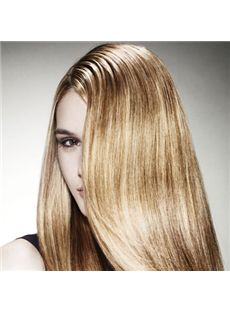 Hand Knitted Long Blonde Female Straight Vogue Wigs 20 Inch