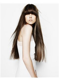 Lastest Trend Long Brown Female Straight Vogue Wigs 26 Inch