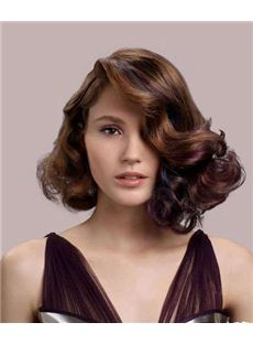 New Style Short Brown Female Wavy Vogue Wigs 12 Inch