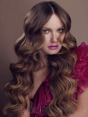 Top Quality Long Brown Female Wavy Vogue Wigs 26 Inch