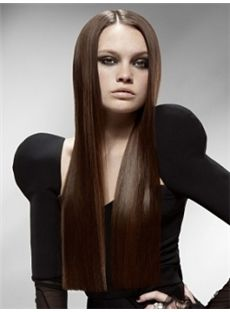 Beautiful Long Brown Female Straight Vogue Wigs 26 Inch