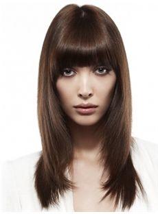 Fashion Medium Brown Female Straight Vogue Wigs 16 Inch