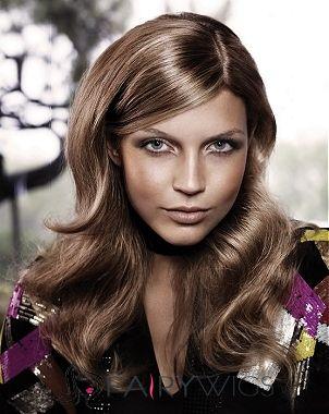 Sale Wigs Medium Brown Female Wavy Vogue Wigs 18 Inch