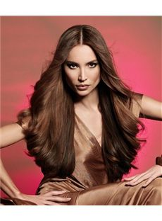 Super Smooth Long Brown Female Wavy Vogue Wigs 26 Inch