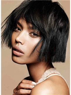 Outstanding Short Black Female Straight Vogue Wigs 10 Inch