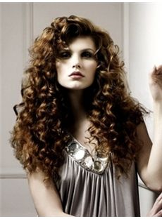 Sketchy Long Brown Female Vogue Wavy Wigs 20 Inch