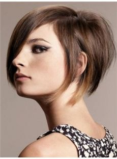 Gorgeous Short Brown Female Straight Vogue Wigs 12 Inch