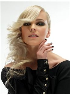 Mysterious Long Blonde Female Wavy Vogue Wigs 20 Inch