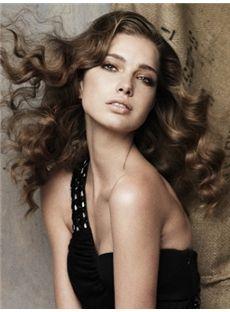 Ancient Medium Brown Female Wavy Vogue Wigs 16 Inch