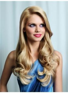 Attractive Long Blonde Female Wavy Vogue Wigs 22 Inch