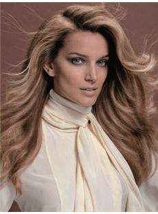 Sketchy Long Brown Female Wavy Vogue Wigs 20 Inch
