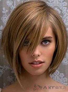 Capless Medium Brown Female Straight Vogue Wigs 14 Inch