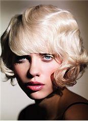 Fashionable Short Blonde Female Wavy Vogue Wigs 10 Inch
