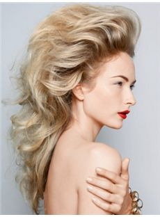 Inexpensive Long Blonde Female Wavy Vogue Wigs 20 Inch