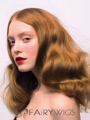 Simple Medium Blonde Female Wavy Vogue Wigs 18 Inch