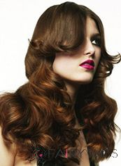Cheap Colored Long Sepia Female Wavy Vogue Wigs 20 Inch