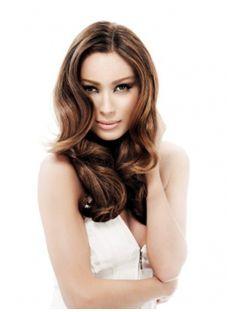 Lovely Medium Brown Female Wavy Vogue Wigs 18 Inch
