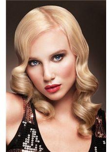 New Fashion Medium Blonde Female Wavy Vogue Wigs