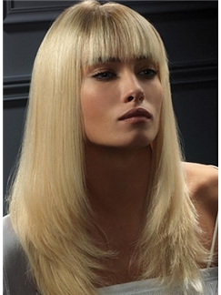 Affordable Long Blonde Female Straight Vogue Wigs 20 Inch
