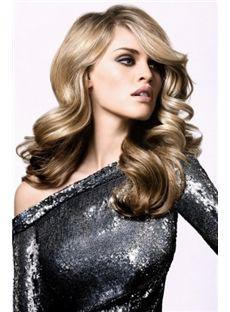 Soft Medium Blonde Female Wavy Vogue Wigs 18 Inch