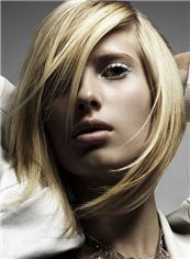 Trendy Short Blonde Female Straight Vogue Wigs 12 Inch
