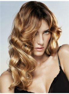 Cheap Medium Blonde Female Wavy Vogue Wigs 16 Inch