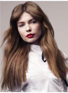 Hot Medium Brown Female Wavy Vogue Wigs 18 Inch