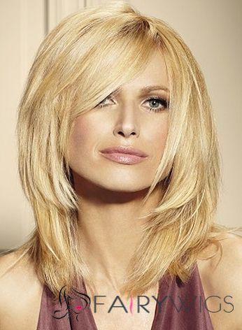 Trendy Medium Blonde Female Wavy Vogue Wigs 14 Inch