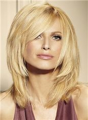 Trendy Medium Blonde Female Wavy Vogue Wigs 14 Inch