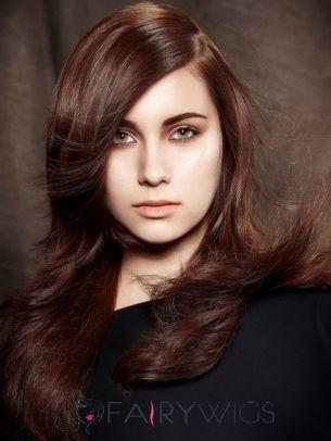 New Fashion Long Brown Female Wavy Vogue Wigs 20 Inch