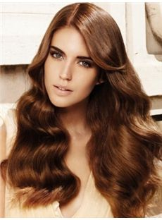 Affordable Long Brown Female Wavy Vogue Wigs
