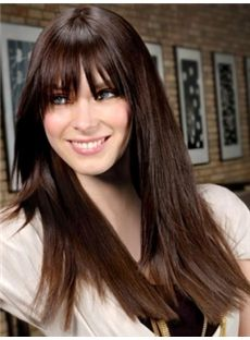 European Style Long Sepia Female Straight Vogue Wigs 20 Inch