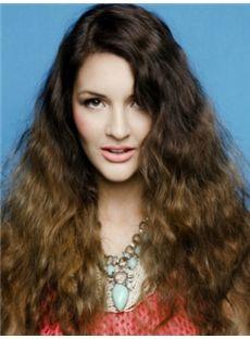 Cute Long Brown Female Wavy Vogue Wigs 20 Inch