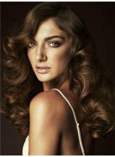 The Fresh Medium Brown Female Wavy Vogue Wigs 18 Inch