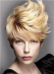 Custom Short Blonde Female Wavy Vogue Wigs 8 Inch