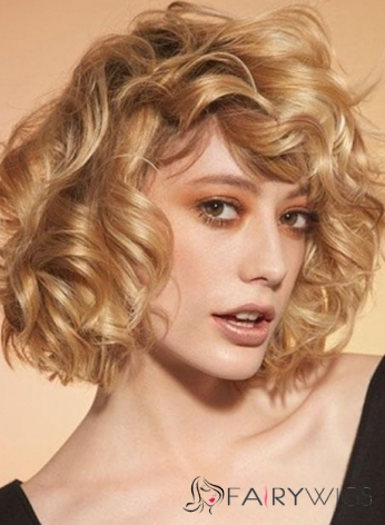 Wig Online Short Blonde Female Wavy 10 Inch Vogue Wigs