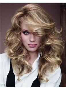 Top-rated Medium Blonde Female Wavy Vogue Wigs 18 Inch