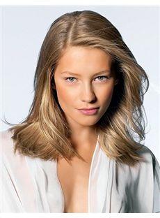 Chic Medium Blonde Female Wavy Vogue Wigs 14 Inch
