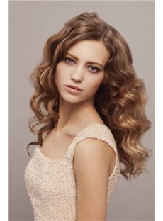 Discount Medium Blonde Female Wavy Vogue Wigs 18 Inch