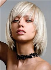 Discount Short Blonde Female Straight Vogue Wigs 12 Inch